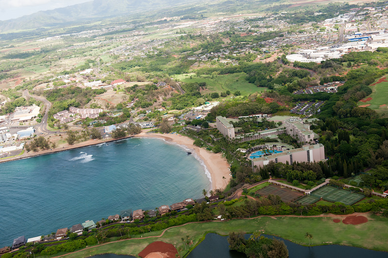 The Marriott Resort in Lihue from above