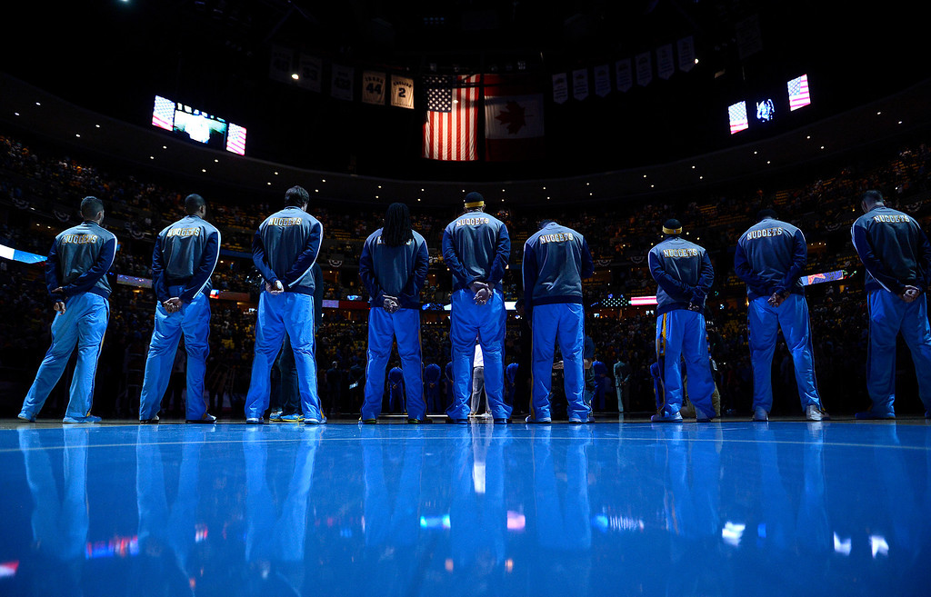 . DENVER, CO. - APRIL 20: The Nuggets line up for the National Anthem. The Denver Nuggets took on the Golden State Warriors in Game 1 of the Western Conference First Round Series at the Pepsi Center in Denver, Colo. on April 20, 2013. (Photo by John Leyba/The Denver Post)