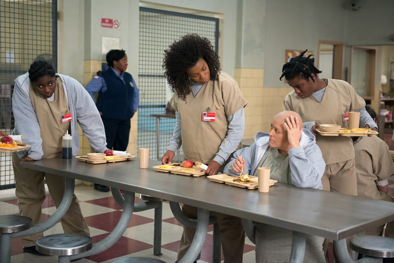 . (L-R) Danielle Brooks, Lorraine Toussaint, Barbara Rosenblat and Uzo Aduba in a scene from Netflix�s �Orange is the New Black� Season 2. (Ali Goldstein, Netflix)