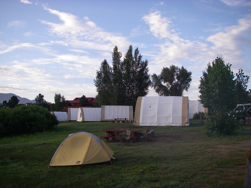 [I climbed Mt. Shavano Friday and stayed overnight at Noah's - after catching a thrilling softball game in town that evening featuring Noah's river guides.] OK, so my tent isn't as big as what the Big Boys use.  So, get over it.
