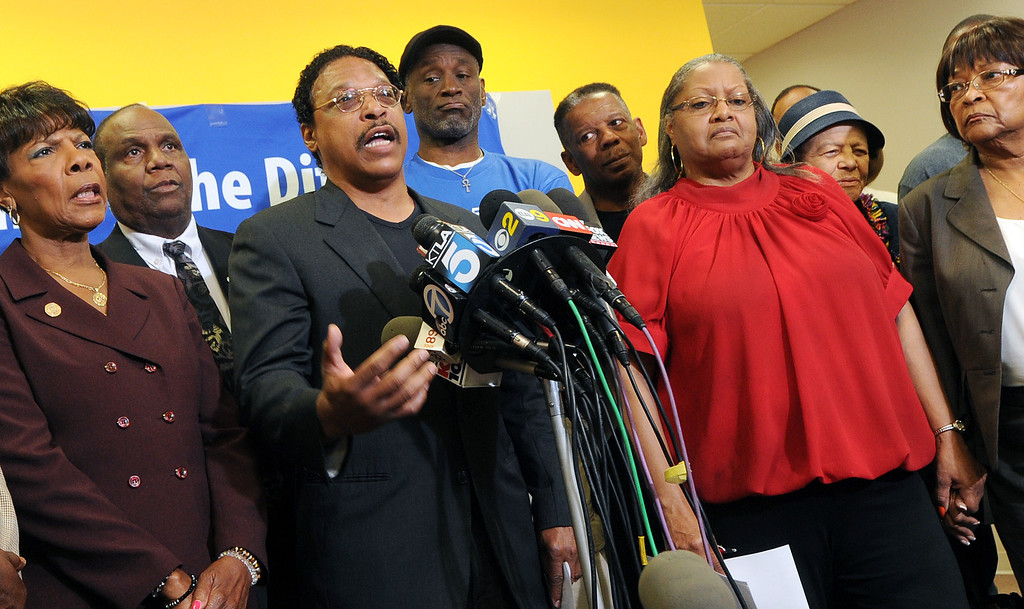 . Los Angeles NAACP President Leon Jenkins announced that because of elements of segregation and racial discrimination comments by Donald Sterling, owner of LA Clippers that LA NAACP, is withdrawning its intention to honor Donald Sterling for his life time body of work must be withdrawn, and his donation to the LA NAACP returned. The press conference was held at NAACP Career Center at Westfield Culver City Mall Monday, April 28, 2014.(Photo by Walt Mancini/Pasadena Star-News)