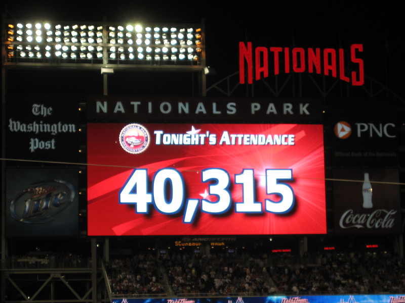 Total attendance at Nationals Park was 40,315, or nearly twice the 2010 prior average attendance of 21,559
