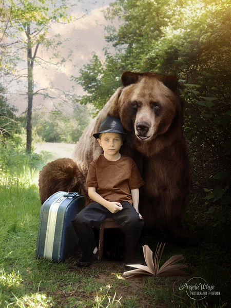 Imagination Boy and Brown Bear on Nature Trail