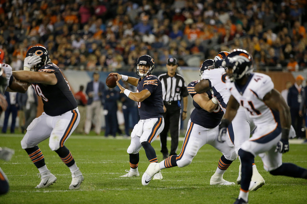 . Chicago Bears quarterback Mitchell Trubisky (10) throws a pass during the second half of an NFL preseason football game against the Denver Broncos, Thursday, Aug. 10, 2017, in Chicago. (AP Photo/Nam Y. Huh)