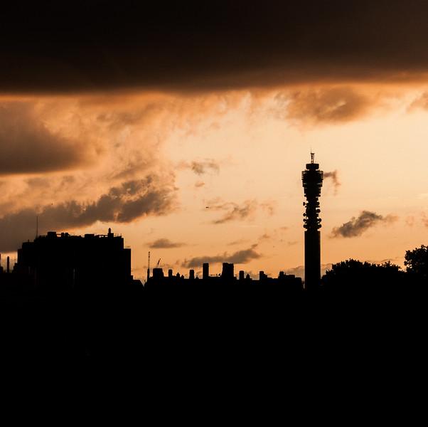 BT Tower sunset silhouette