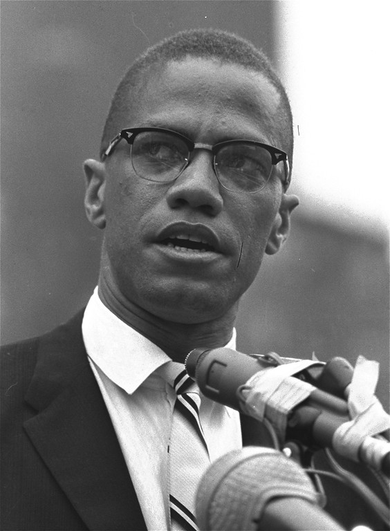 . Black Muslim leader Malcolm X is shown addressing rally in Harlem, New York on June 29, 1963.  (AP Photo)