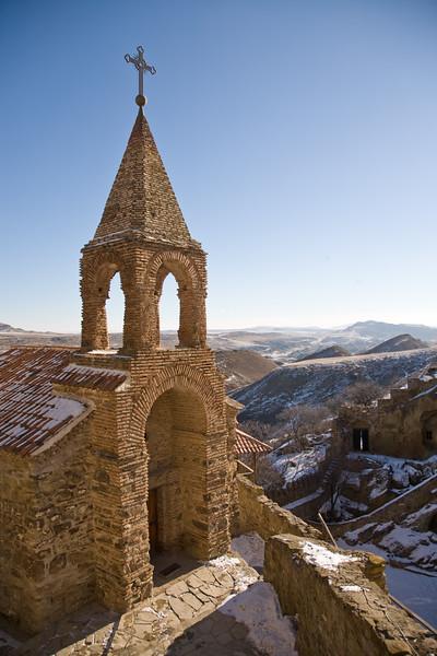 Davit Gareja, Georgia - January, 2008: Along the border with Azerbaijan, Davit Gareja is an extremely isolated monastry built into the soft limestone mountainside and dates back to the 6th century AD. (Photo by Christopher Herwig)