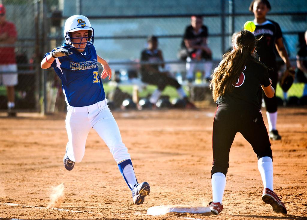 . San Dimas Softball tournament game, Glendora vs. Charter Oak at Charter Oak High School in Covina on Monday, March 4, 2013. Charter Oak beat Glendora 9-1. (SGVN/Staff photo by Watchara Phomicinda)