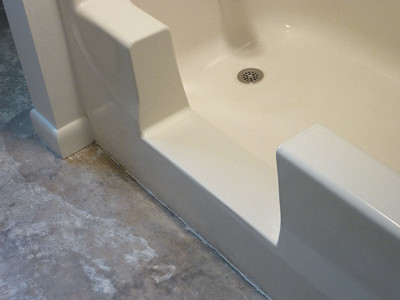 Fiberglass Bathtub Converted to Easy Step in Shower in Belleville, PA... Custom Built.
