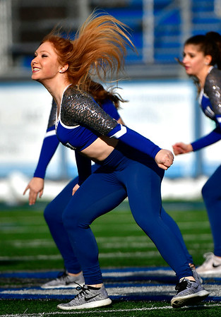 11/17/2018 Mike Orazzi | Staff CCSU dance team members during half time at Arute Field in New Britain Saturday afternoon for football with Duquesne.