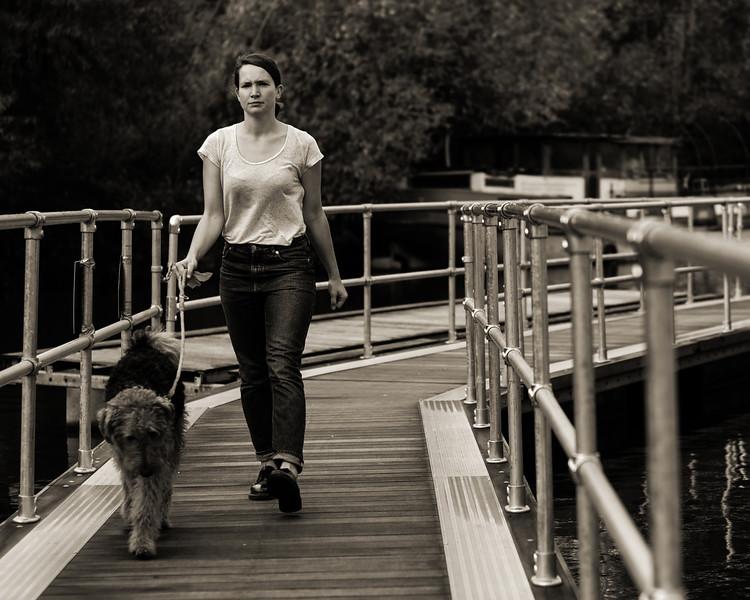 Walking the dog...on a pontoon!