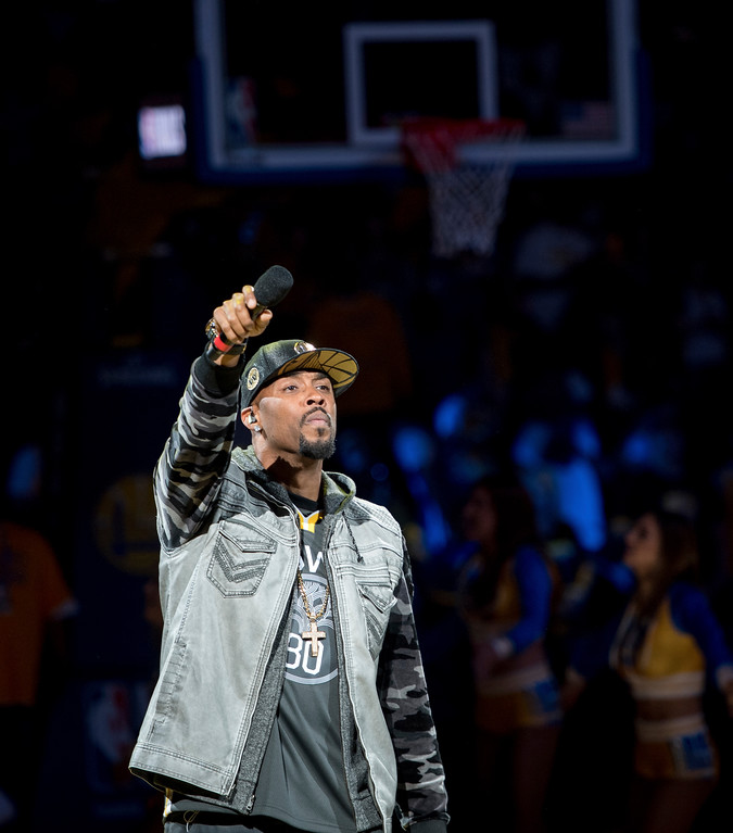 . Montell Jordan performs during a watch party for Game 4 of basketball\'s NBA Finals between the Cleveland Cavaliers and Golden State Warriors, at Oracle Arena in Oakland, Calif., Friday, June 8, 2018. (AP Photo/Josh Edelson)