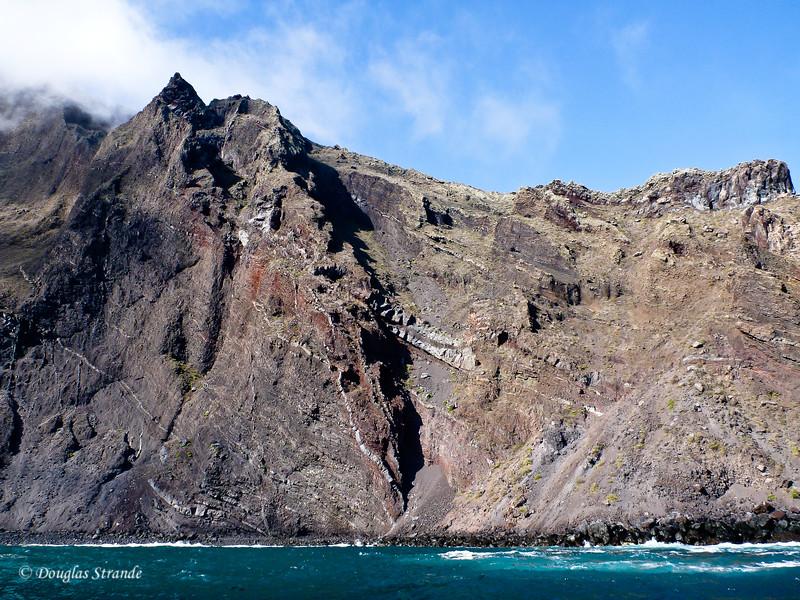 A cliff at Punta Vincente Roca, Isabela Island
