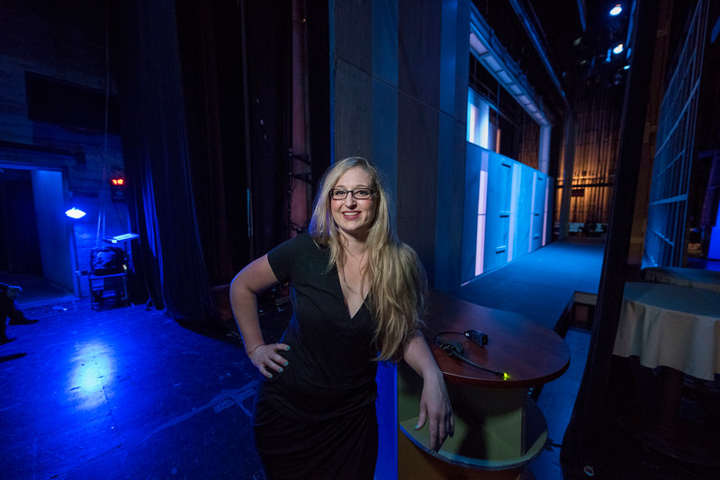 Lara Tenckhoff works backstage of the newest play at Laxson Auditorium on Wednesday, May 3, 2017 in Chico, Calif. (Jason Halley/University Photographer)