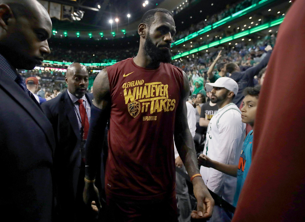 . Cleveland Cavaliers forward LeBron James leaves the court after the team\'s 107-94 loss to the Boston Celtics in Game 2 of the NBA basketball Eastern Conference finals Tuesday, May 15, 2018, in Boston. (AP Photo/Charles Krupa)