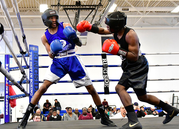 3/16/2019 Mike Orazzi | Staff West Points Carlan Ivey (Red) and Shippensburg Universitys Clayton Wilson(blue) in a 125 match during the National Collegiate Boxing Association National Qualifier held at the Bristol Boys & Girls Club in Bristol, Conn. on Saturday.