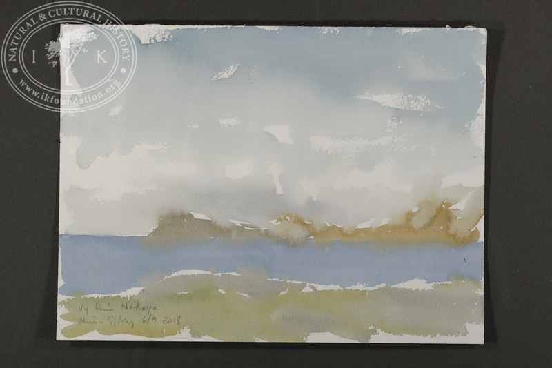 "Panorama sketch at Nordøya. Prins Karls Forland in the background. | 6.9.2018 | ""I want to convey what I see with immediacy and simplicity to make the viewer feel present on the Arctic scene."" 