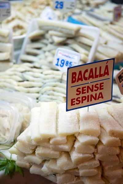 Salt codfish, Boqueria market, town of Barcelona, autonomous commnunity of Catalonia, northeastern Spain