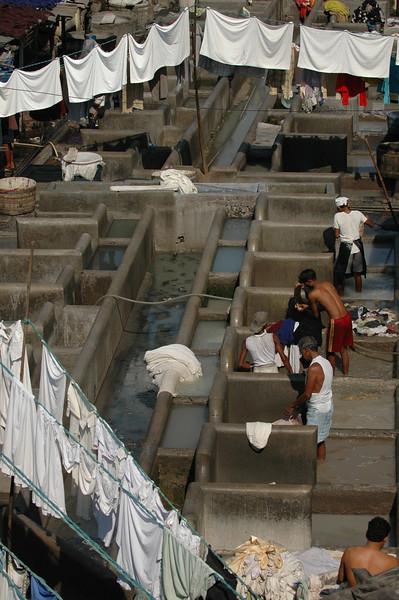 Washing clothes at Dhobi Ghat in Mumbai
