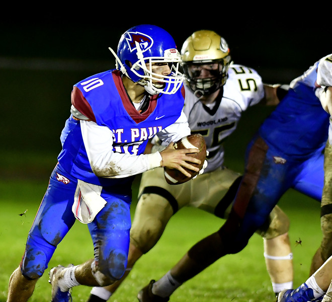 10/5/2018 Mike Orazzi | Staff St. Paul Catholic High School's Kevin Ashworth (10)  during Friday night's football game with Woodland in Bristol.