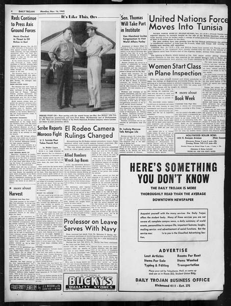 Daily Trojan, Vol. 34, No. 41, November 16, 1942