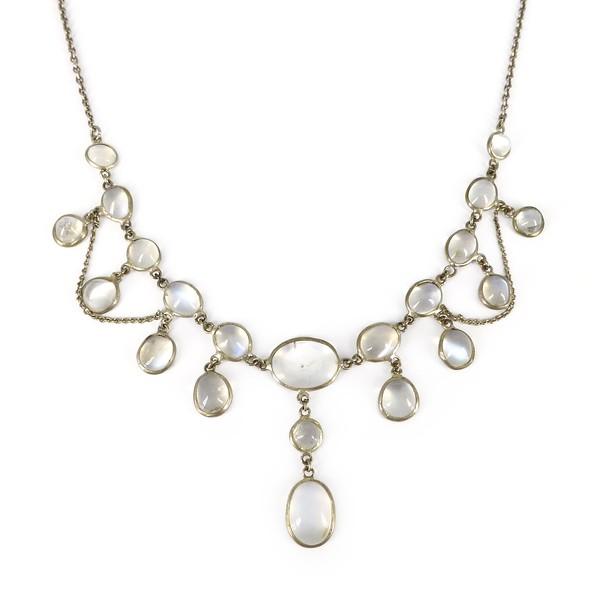 Antique Edwardian Silver Moonstone Festoon Drop Necklace