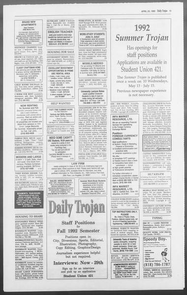 Daily Trojan, Vol. 117, No. 63, April 23, 1992