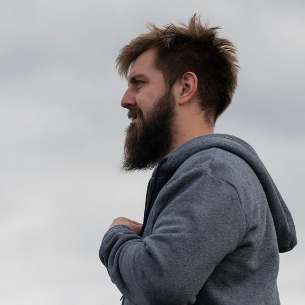 Close-up of a bearded man, Portrush, The Coastal Route, Northern Ireland, United Kingdom