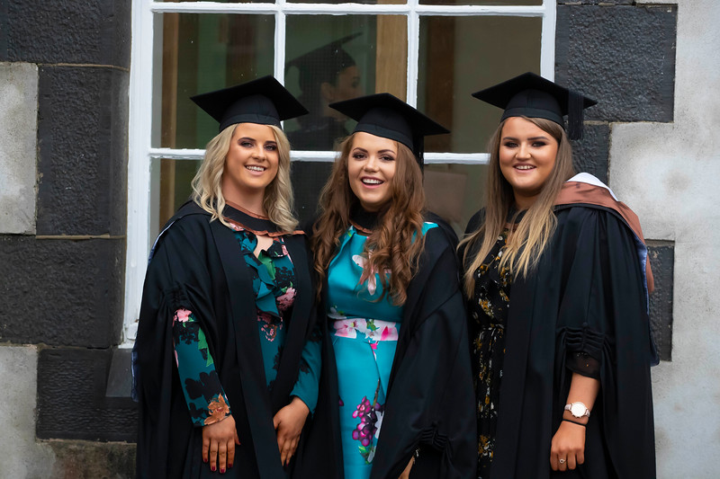 31/10/2019. Waterford Institute of Technology (WIT) Conferring Ceremonies. Pictured are Ciara Morrissey, Enniscorthy, Shannon Quinn, Templemore and Amy Banville, Enniscorthy. Picture: Patrick Browne