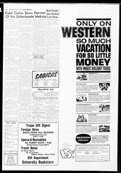 Daily Trojan, Vol. 52, No. 108, April 19, 1961