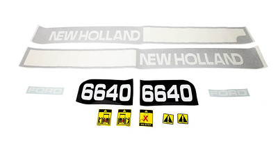 FORD NEW HOLLAND 6640 SERIES BONNET DECAL SET