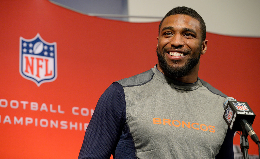 . Denver Broncos middle linebacker Wesley Woodyard (52) addresses the media during his press conference January 15, 2014 at Dove Valley. The Broncos will face the Patriots for the AFC title.  (Photo by John Leyba/The Denver Post)