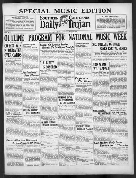 Daily Trojan, Vol. 19, No. 139, May 22, 1928