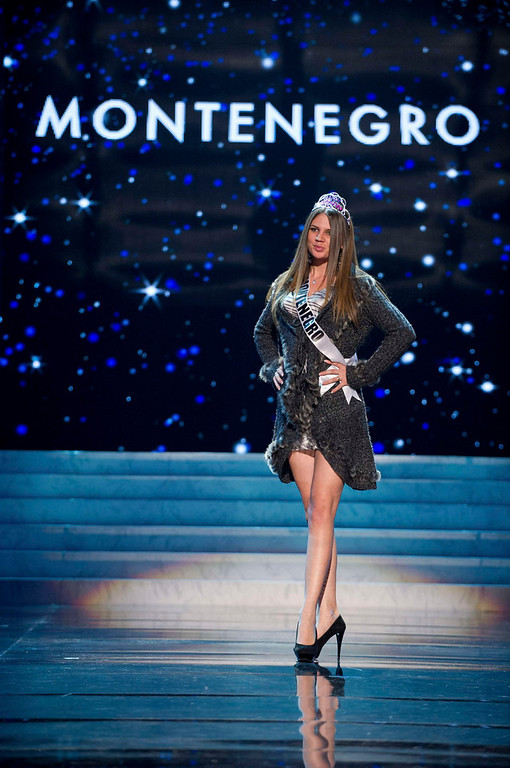 . Miss Montenegro 2012, Andrea Radonjic, rehearses for the 2012 Miss Universe Presentation Show in Las Vegas, Nevada, December 13, 2012.  The Miss Universe 2012 pageant will be held on December 19, 2012 at the Planet Hollywood Resort and Casino in Las Vegas. REUTERS/Darren Decker/Miss Universe Organization L.P/Handout