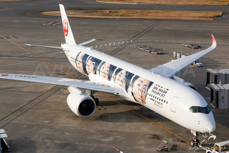 "Japan Airlines (JAL)   Airbus A350-941   JA04XJ   ""20th Arashi Thanks Jet"" special scheme"