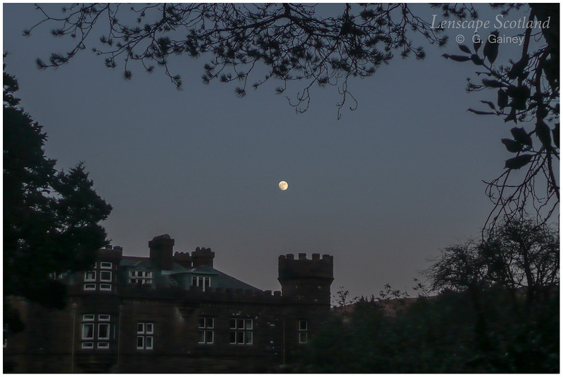 Kinloch Castle with full moon 1