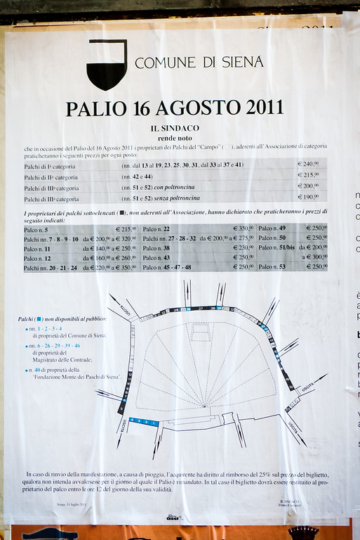 Palio poster with ticket prices