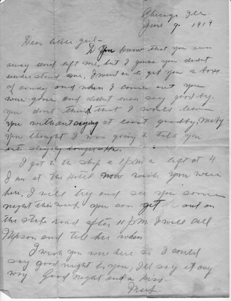 Letter from Grandfather Mark Louis Sunlin to Grandma (Allie Girl).