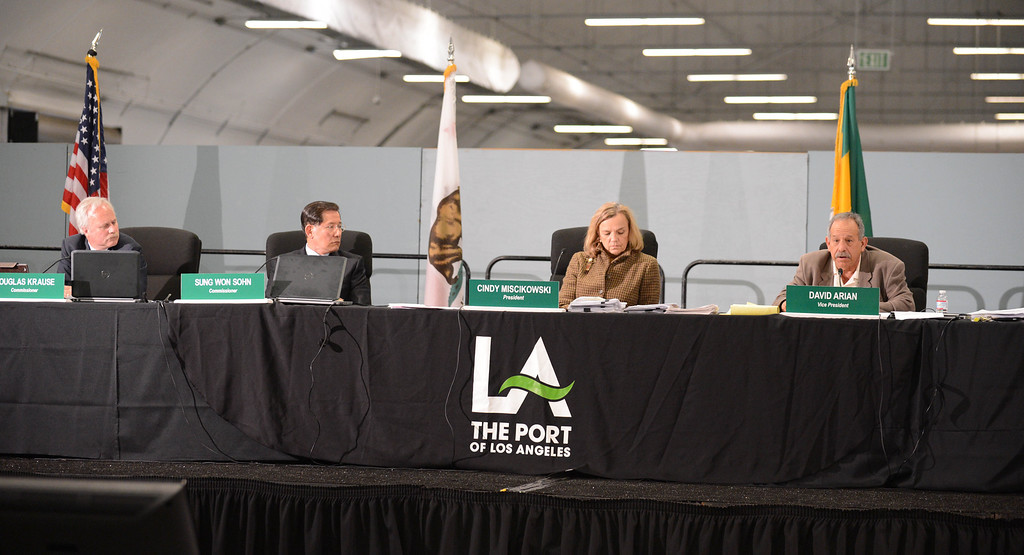 . Vice Commissioner David Arian, right, explains why he is voting in favor of the SCIG EIR report at the LA Harbor Commission meeting to determine the fate of the SCIG rail terminal, or Southern California International Gateway.    Photo by Brad Graverson 3-7-13