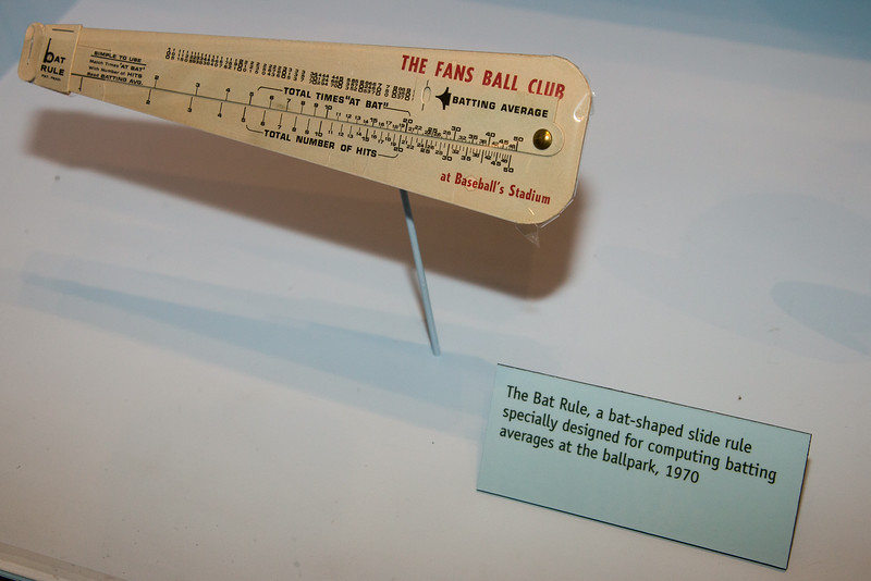 bat-shaped slide rule for batting averages -- A trip to the Baseball Hall of Fame, Cooperstown, NY, June 2014