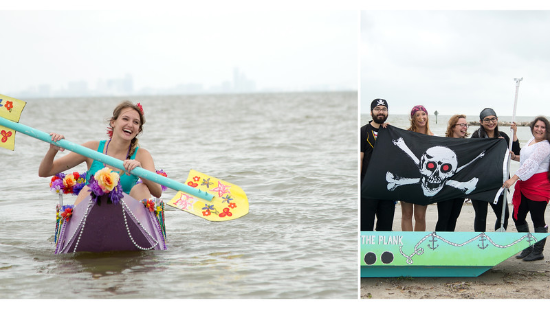 Julianne Handie(left) paddles her boat at the the University Beach where the Sculpture I class presented a boat race to demonstrate their high impact practice project.