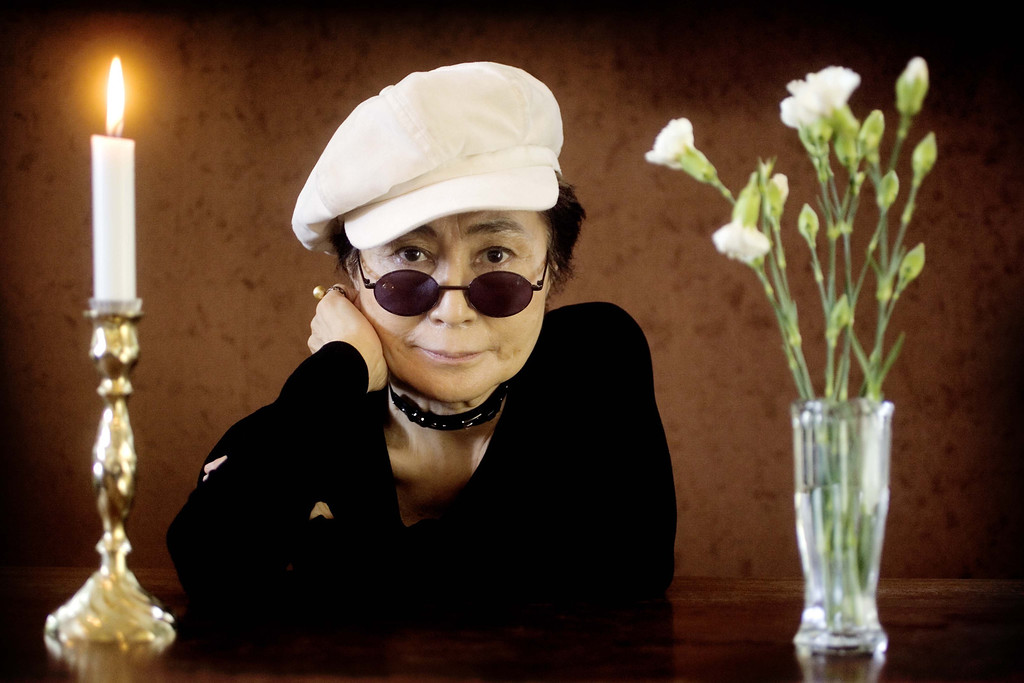 """. Artist Yoko Ono poses as she promotes her exhibition \""""Women\'s Room\"""" at the Women\'s Museum in Aarhus, Denmark, Wednesday, May 19, 2004. Besides the exhibition, Ono will perform at the museum, Thursday. (AP Photo/Polfoto, Peter Hove Olesen)"""