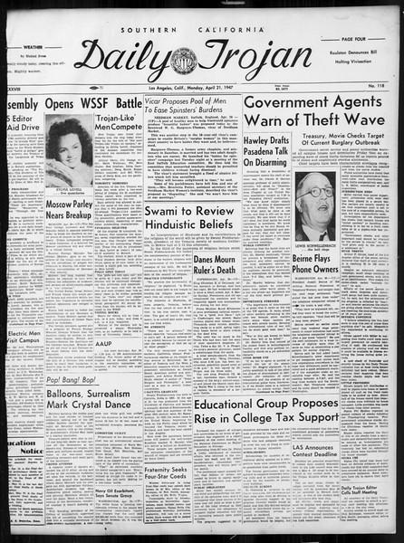 Daily Trojan, Vol. 38, No. 118, April 21, 1947