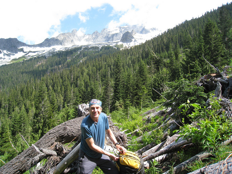 Gerry Croteau in the avalanche debris on the Boston Basin Trail.