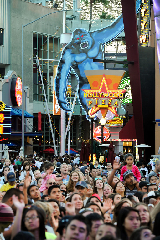 . A big crowd waits for a concert at 5 Towers at Universal CityWalk. Friday, July 6, 2013. (Michael Owen Baker/L.A. Daily News)