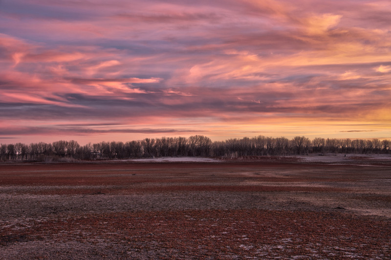 sunrise in the drained glendo reservoir of Wyoming