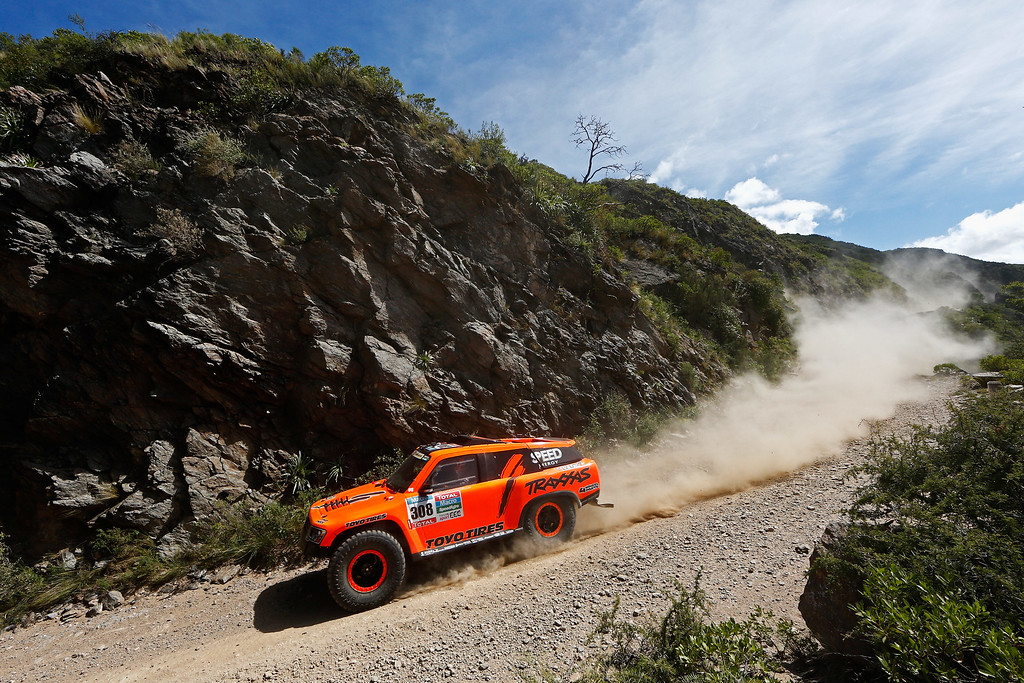 . TANINGA, ARGENTINA - JANUARY 05:  #308 Robby Gordon and Johnny Campbell of the United States driving for Speed Energy Racing HST Hummer compete during day 2 of the Dakar Rallly on January 5, 2015 between Villa Carlos Paz and San Juan near the town of Taninga, Argentina.  (Photo by Dean Mouhtaropoulos/Getty Images)