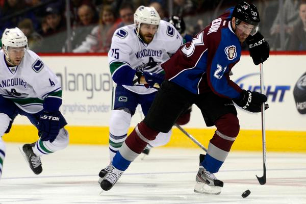 . DENVER, CO - MARCH 24: Milan Hejduk (23) of the Colorado Avalanche takes the puck into the open ice against the Vancouver Canucks during the first period of action. Colorado Avalanche versus the Vancouver Canucks at the Pepsi Center. (Photo by AAron Ontiveroz/The Denver Post)