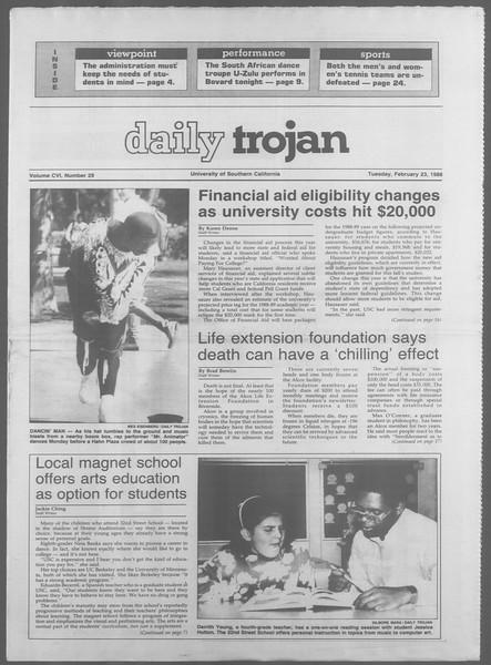 Daily Trojan, Vol. 106, No. 29, February 23, 1988