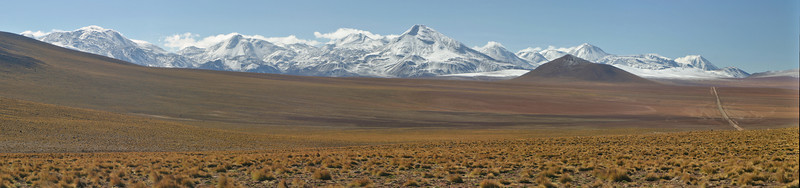 Andean landscape with the snowcapped peaks, location north Chilean - Argentinian border